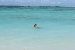 Try an ocean swim in the large reef protected lagoon on the eastern side